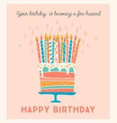 happy birthday cake with vector image