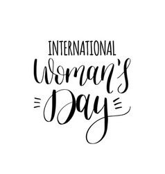 happy womans day handwritten lettering card on vector image