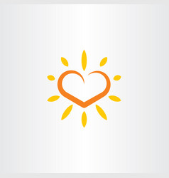 Heart sun logo icon element vector