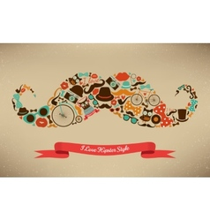 I Love Hipster Style Icon Set in Moustache Shape vector image
