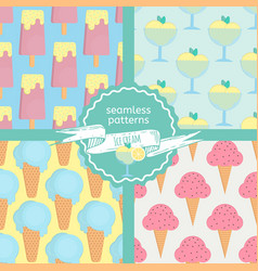 ice cream seamless patterns set in flat style vector image