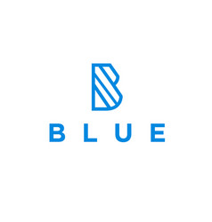 initial b with blue logo design vector image