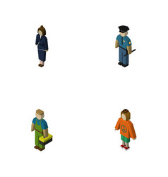 isometric person set of officer plumber lady and vector image