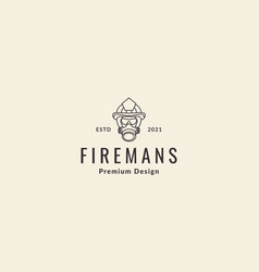 Lines hipster fireman logo symbol icon graphic vector