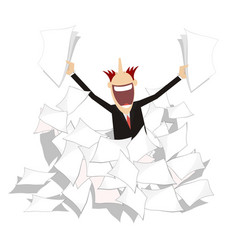 Man pile of papers positive emotion vector