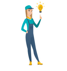 Mechanic pointing at bright idea light bulb vector