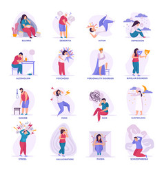 Mental disorders flat icons vector