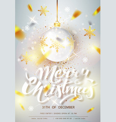 merry christmas card over gray background vector image