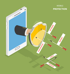 Mobile protection flat isometric concept vector
