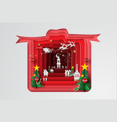 paper art and craft of merry christmas with gift vector image