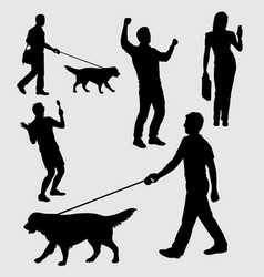 People walking with dog silhouette vector