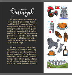 portugal culture banner template with famous vector image