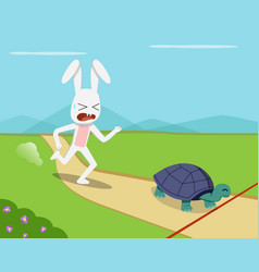 rabbit and tortoise go to finish line vector image