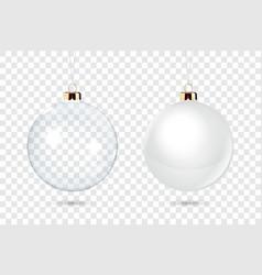 realistic 3d christmas glossy glass ball vector image