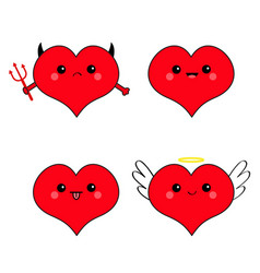 red heart head face emotion icon set devil angel vector image