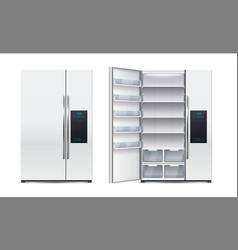 Refrigerator realistic open or close fridge vector