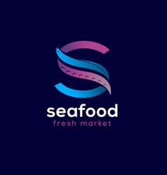 Restaurant seafood s monogram octopus tentacle eel vector