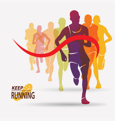 running people set of silhouettes competition and vector image