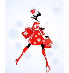 santa girl with gifts and shopping vector image