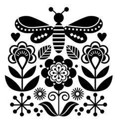 scandinavian folk art style flowers pattern vector image