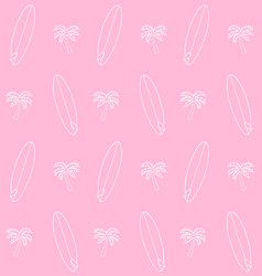 seamless pattern hand drawn surf board and palm vector image