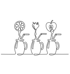 set juice flow in glass continuous one line vector image
