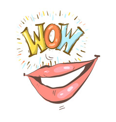 sexy open female mouth smiling and wow speech vector image