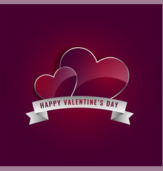 shiny hearts with ribbon for valentines day vector image