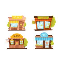 Shop building facade set vector