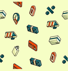 shopping color outline isometric pattern vector image