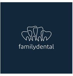 simple line art family dental logo dental clinic vector image