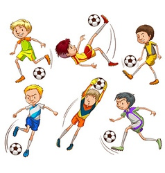 Sketches of the soccer players vector image