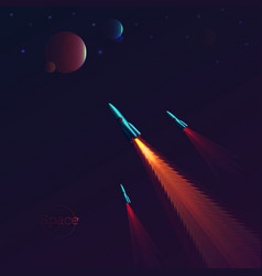 space background with rockets flying to other vector image
