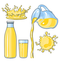 Splashing and pouring yellow lemon juice in bottle vector