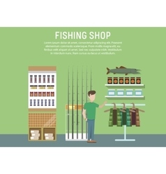 Sport or hobby fishing shop interior vector