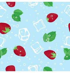 Strawberry mojito seamless pattern on blue vector