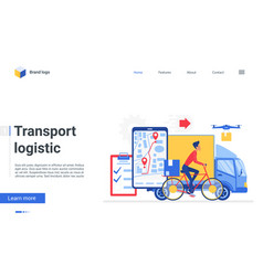 transport logistic service landing page online vector image