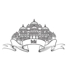 travel delhi sign indian landmark famous vector image vector image