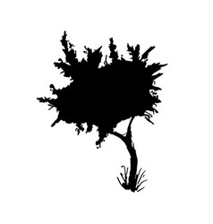 tree black paint silhouette vector image