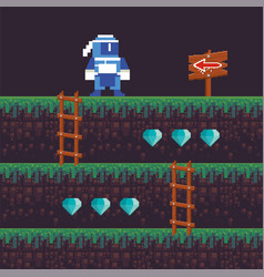 Video game ninja warrior in pixelated scene vector