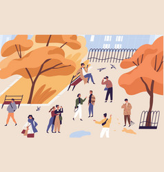 walking people spend time in autumn city park vector image