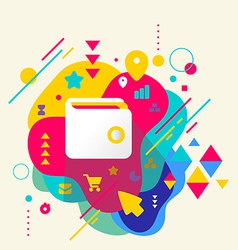 Wallet on abstract colorful spotted background vector