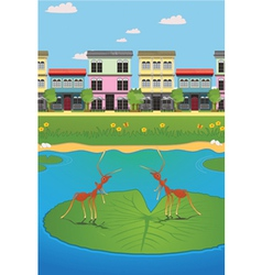Waterfront village vector image