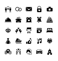 wedding icon set in flat style vector image