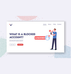 What is blocked account landing page template vector