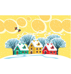 winter landscape with snowy houses and trees vector image