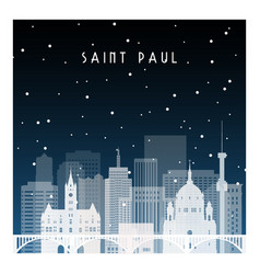 winter night in saint paul night city in flat vector image