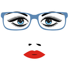 woman beautiful eyes with glasses vector image