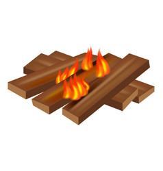 wood fire icon realistic style vector image