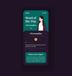 Word day trivia smartphone interface vector